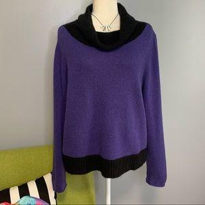 Eileen Fisher Purple Cowlneck Wool Yack Sweater D4